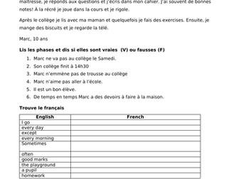 KS3 French redaing - au college