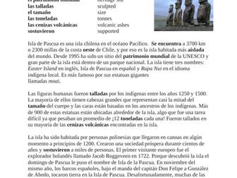 La Isla de Pascua Lectura y cultura: Easter Island Spanish Reading