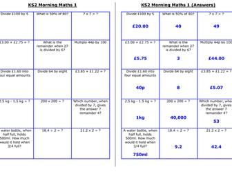 UKS2 Morning Maths Sheets (MA)