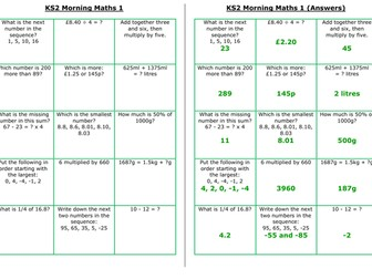 UKS2 Morning Maths Sheets (LA)