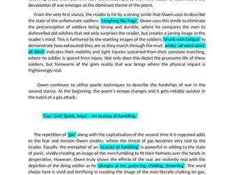 NAT 5 English Model Critical Essay: Dulce Et Decorum Est (17/20)