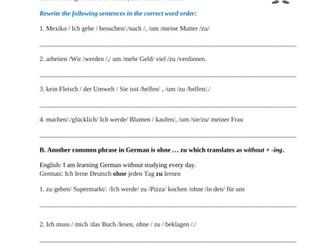 German Worksheet: um...zu, damit & ohne zu