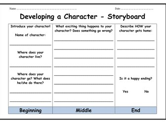 Developing a Character - Storyboard & Characters