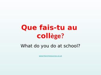 KS3 French Les activites au college