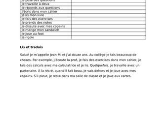 KS3 French Que fais -tu au college