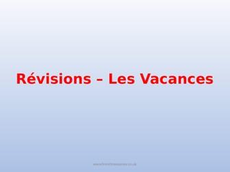 GCSE French On Revise Les Vacances