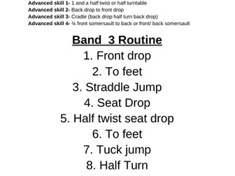 Trampoline GCSE Skills and routines for each band