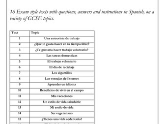 Spanish GCSE  Reading Exam Practice Booklet (Higher Tier - questions & instructions in Spanish)