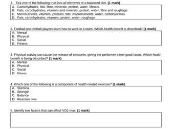 Component 2 Health, Fitness & Training 6.1-7.3 Practice Exam
