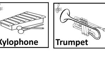 Musical instruments.  Colouring pages.