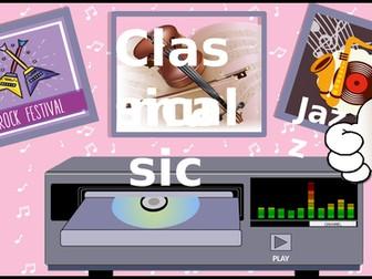 Music styles. Listening game