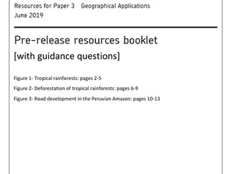AQA GCSE Geography Paper 3 booklet with guidance questions