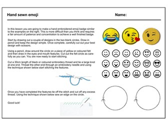 Textiles cover work / cover lesson - Emoji badge - 1hr activity