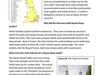 Why did the Normans build Square Keep Castles?