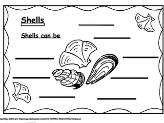 Shells can be - illustrated writing frame + guide sheet