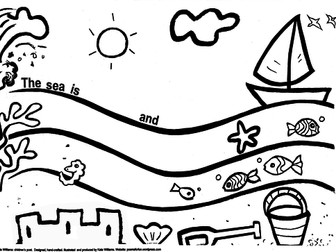 Seaside writing + colouring sheet - simple