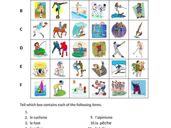 Sports in French Find it Worksheet