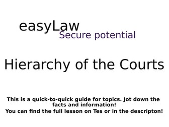 easyLAW: Hierarchy of the Courts Summary