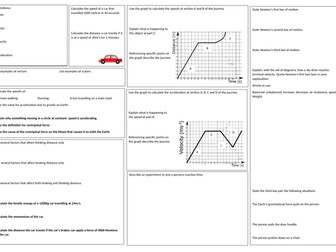 GCSE Physics Forces and motion  revision mat EDEXCEL
