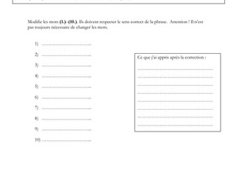 French - iGCSE - gap fill - (exam style question) - environnement