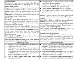Spanish A Level los cambios en la familia y el matrimonio revision sheet & key cultural references