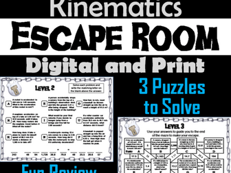 1 Dimensional Kinematics Activity: Physics Escape Room Science