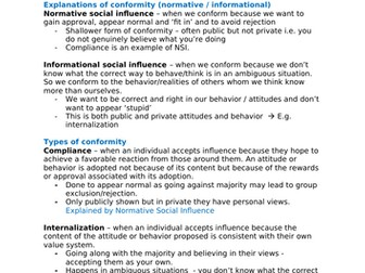 Psychology A-Level AQA 7181/7182 (New) - Social Influence Notes