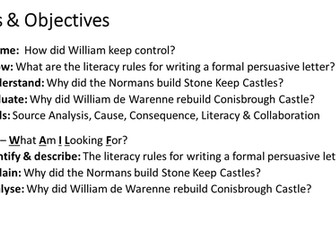 Literacy - Why did the Normans build Square Keep Castles? (Persuasive Formal Letter Writing)