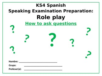 Spanish -Role play how to ask questions