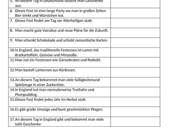 Customs and festivals match up activity for German GCSE KS4 (Identity and Culture Unit 4)
