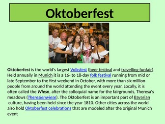 Festivals in Germany  - information  powerpoint, German GCSE Unit 4 Customs and Festivals
