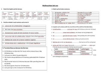 Weihnachten bei uns Reading and Translation activity sheet German GCSE Unit 4 Customs and Festivals