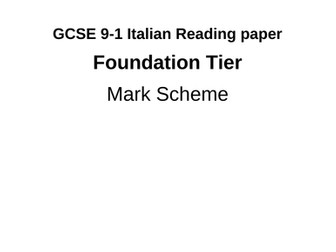 Italian Reading Foundation Paper AQA-style