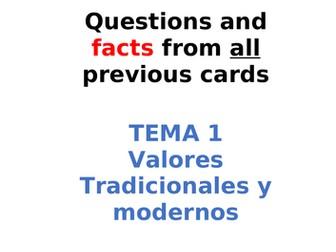 AQA Spanish Facts and Questions Tema 1 - Valores Tradicionales y Modernos