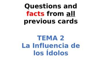 AQA Spanish Facts and Questions Tema 2 - La Influencia de los Ídolos