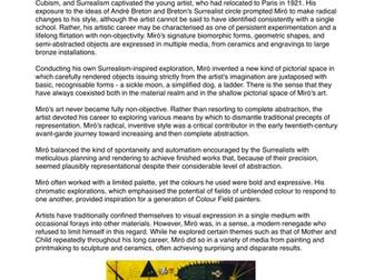 Traditional Fine Artist Factsheets - Art & Design - Research PT 2