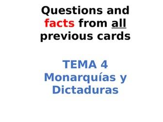 AQA Spanish Facts and Questions Tema 4 - Monarquías y Dictaduras