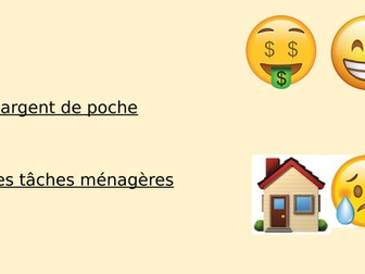 Pocket money/Household chores sentence builder (Y9Fr)
