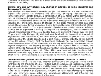 ALEVEL GEOG A* MODEL ANSWERS - CHANGING PLACES & URBAN ENVIRONMENTS