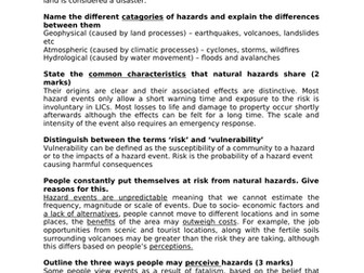 ALEVEL GEOG A* MODEL ANSWERS - CONTEXT OF HAZARDS