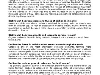 ALEVEL GEOG A* MODEL ANSWERS - CARBON CYCLE