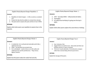 Revision Flash Cards for AQA Power and Conflict Anthology 14  poems