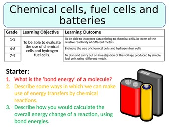 NEW AQA GCSE (2016) Chemistry  - Chemical cells, batteries and fuel cells
