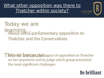 AQA A Level history 7042 - Britain 2S - Extra parliamentary opposition under Thatcher