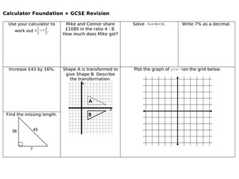 GCSE Calculator Revision Mats: Higher and Foundation