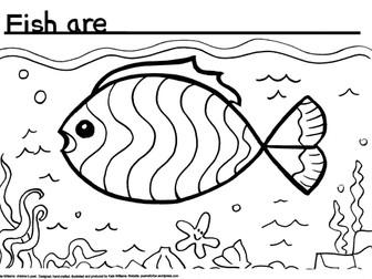 Fish in sea - Writing + Colouring Sheet + Ideas Sheet