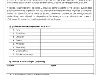 Spanish A Level el turismo de masas: translations on the impact of mass tourism in Spain & answers