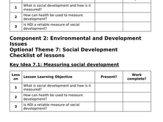 Theme 7: Social Development Key Idea 7.1 (Eduqas WJEC 9-1)
