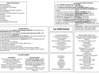 AS / A level / pre-U Revision Mat - la télévision
