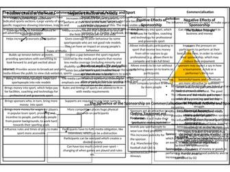 OCR GCSE PE Commercialisation in Sport Revision Sheet